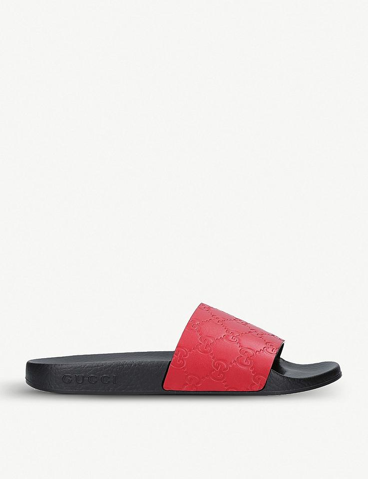 06bca5ed1384 Gucci Red Gg Supreme Pool Slides Sandals Size EU 42 (Approx. US 12) Regular  (M