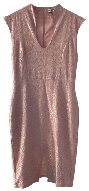 Item - Pink Lace Mid-length Work/Office Dress Size 12 (L)