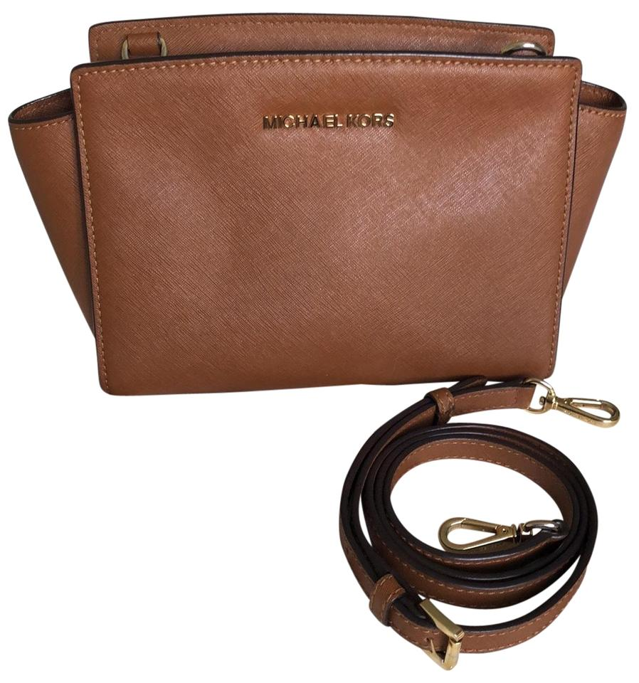 924a7d2b48a55f MICHAEL Michael Kors Medium Selma Luggage Saffiano Leather Cross Body Bag