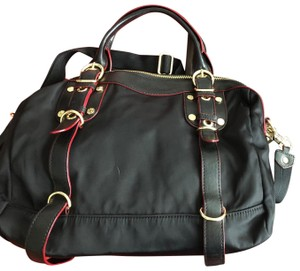 MZ Wallace W/ & Make-up Case Shoulder Strap Storage Satchel in black w/red and gold accents