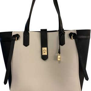 f9f41d93a324 Michael Kors Tote Padlock Hangtag Two Tone Color Large Tote Shoulder  Satchel in Vanilla Black
