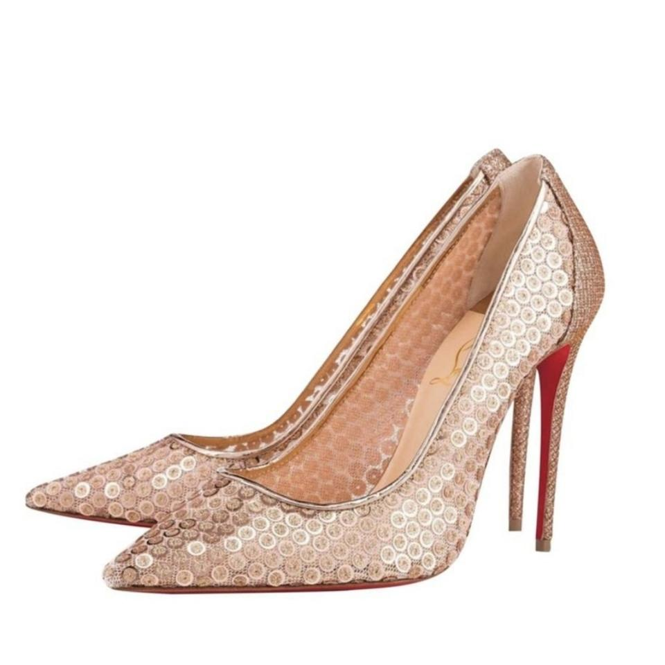 7295d44a9df Christian Louboutin Gold and Nude Cabaret Sequin Lace 554 Pumps Size US 8.5  Regular (M, B) 29% off retail