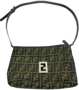 Fendi Vintage Leather Canvas Jacquard Gold Shoulder Bag