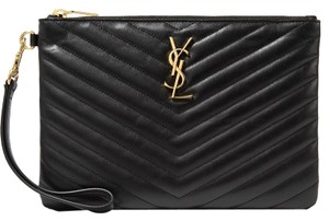 c24dfb4bcd Saint Laurent Ysl Clutch Pouch Monogram Wristlet in black
