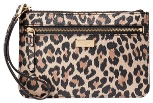 Kate Spade Leather Large Wristlet in leopard