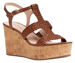 2c665cc3f2bd Kate Spade Sandals Cork Strappy Luggage Woven Leather Wedges