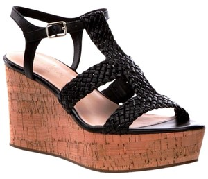 a61f50a2517b Kate Spade Sandals Cork Strappy Black Woven Leather Wedges