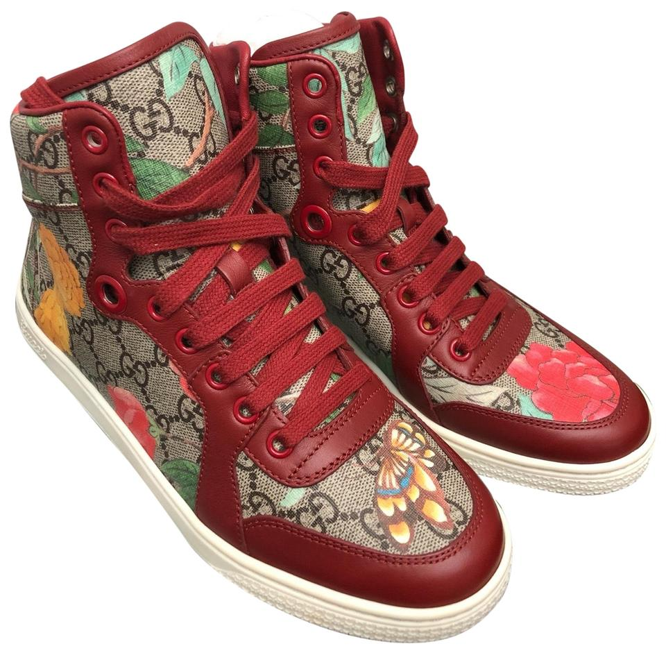 08aa63094 Gucci Red Women Supreme Gg Tian Semaine Print High Top Sneakers Size ...