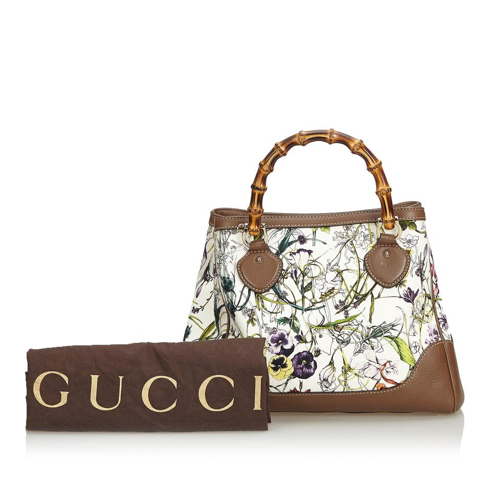 f6a76edf4cd Gucci Jacquard Fabric Bamboo Canvas Flora Diana Italy White Blend Leather  Satchel