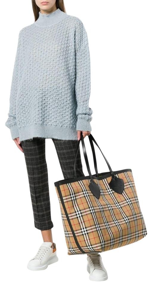 find lowest price special selection of online sale Burberry Tote Giant Reversible Trimmed Check Canvas Yellow / Flaxyyellow  Cotton Shoulder Bag