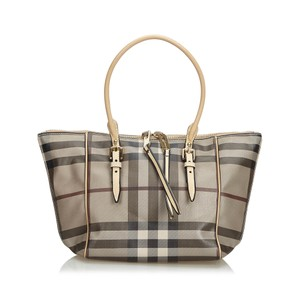 697775607c44 Burberry Beige Pvc Smoke Check Handbag United Kingdom Brown Plastic ...
