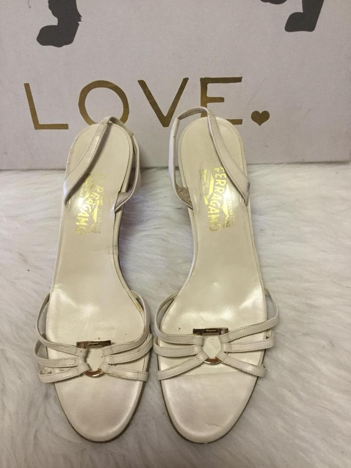 95e9a2754 Salvatore Ferragamo White Nablina Strappy Sandals Size US 8 Regular ...