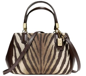 Coach New Zebra Crossbody Satchel in Brown/Mahogany/Khaki/Tan/Gold