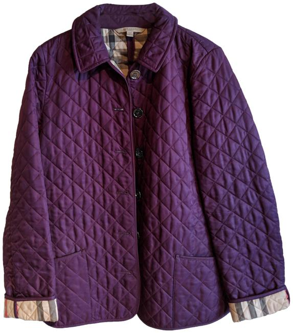 23240a16679 Burberry Brit Quilted Silver Hardware Silver Classic Purple Jacket Image 0  ...