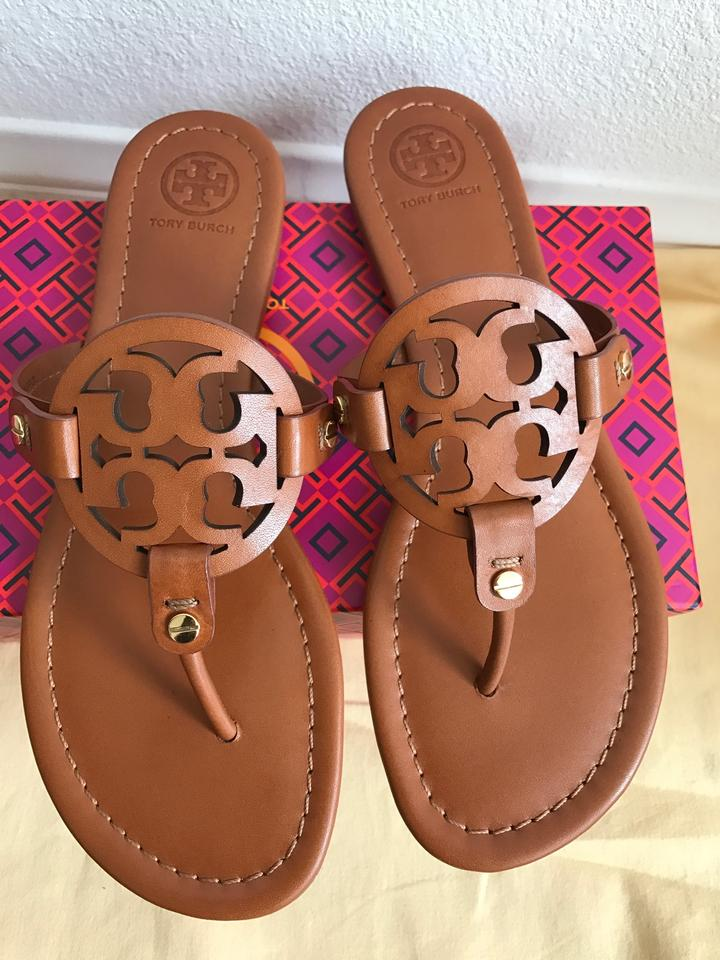 2a45410be Tory Burch Brown Miller Veg Leather Sandals Size US 7 Regular (M
