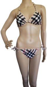 Burberry Beige multicolor Burberry Brit Nova Check print two-piece swimsuit