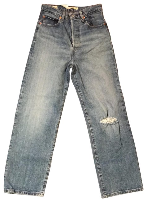 Item - Blue Medium Wash Ribcage Straight Ankle Trouser/Wide Leg Jeans Size 4 (S, 27)
