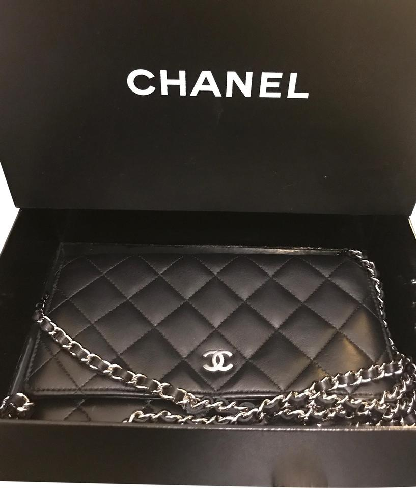 3d6f2c64adf7 Chanel Wallet on Chain Classic In Silver-tone Metal Black Lambskin ...
