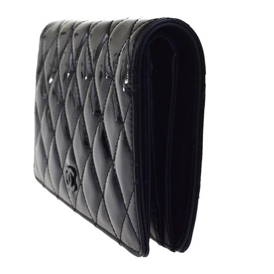 Chanel All Black Patent Leather Long Wallet Image 1