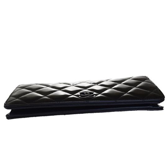Chanel All Black Patent Leather Long Wallet Image 3
