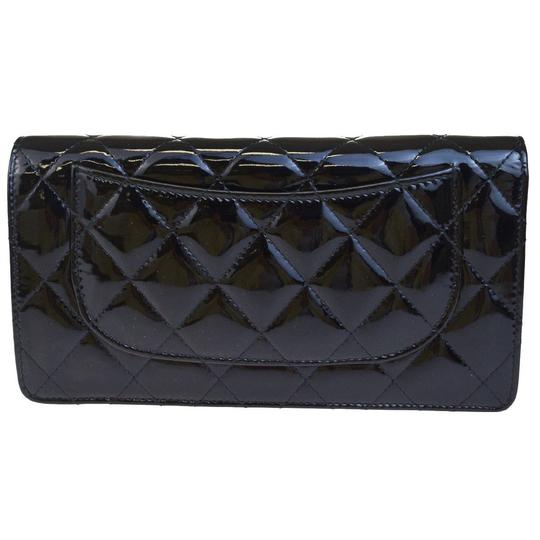 Chanel All Black Patent Leather Long Wallet Image 4