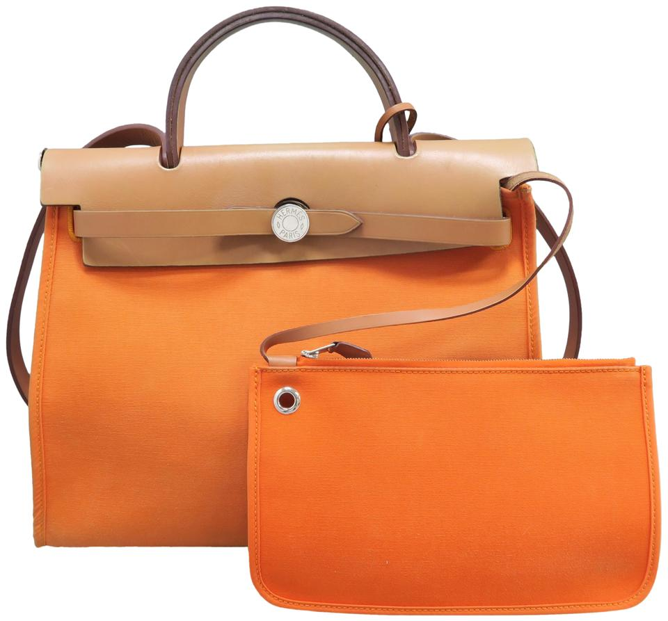 005cf83d7592 Hermès Herbag Zip 31 Shoulder Oranged Canvas Satchel - Tradesy