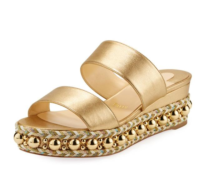 Item - Gold Janitag Double-strap Napa Studded Jute Red Sole Sandals Platforms Size EU 40 (Approx. US 10) Regular (M, B)