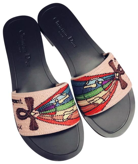 Item - Multi/Black/Pink S18 Flat Slide with Rainbow Embroidery Sandals Size EU 37 (Approx. US 7) Regular (M, B)