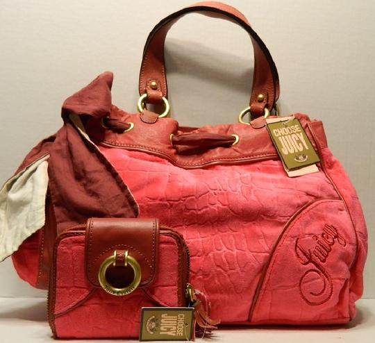 Juicy Couture New With Tags Coach Wallet Set Daydreamer Tote in Vivid Pink/Rust Red/Gold/Brass Image 10