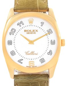 Rolex Rolex Cellini Danaos Yellow Gold Brown Strap Mens Watch 4233 Papers