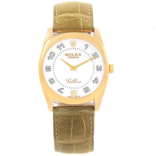 Rolex Rolex Cellini Danaos Yellow Gold Brown Strap Mens Watch 4233 Papers Image 1