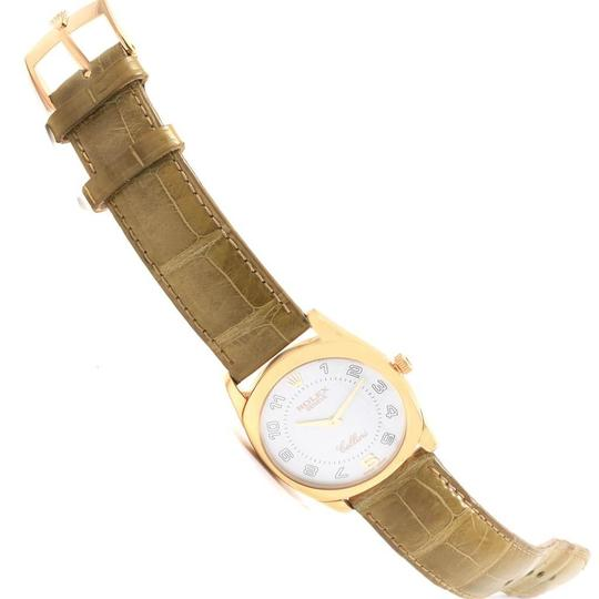 Rolex Rolex Cellini Danaos Yellow Gold Brown Strap Mens Watch 4233 Papers Image 10