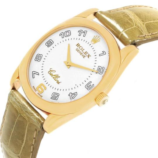 Rolex Rolex Cellini Danaos Yellow Gold Brown Strap Mens Watch 4233 Papers Image 4