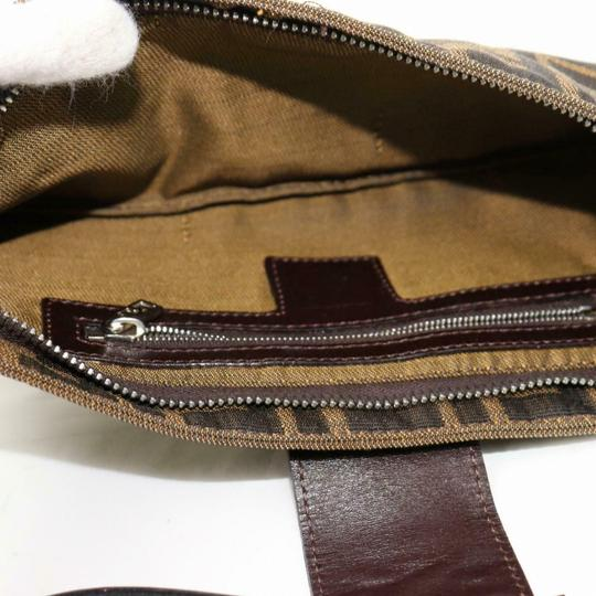 Fendi Tobacco Mint Condition Unusual Style Chrome Hardware Multiple Compartment Shoulder Bag Image 7