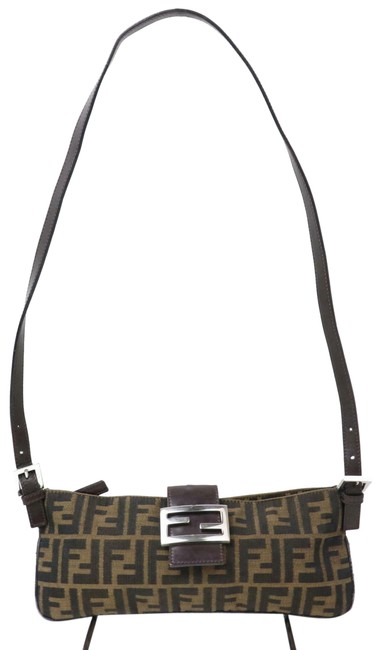 Item - Cross Body Purses Zucco Print In Shades Of Brown Canvas and Leather Shoulder Bag