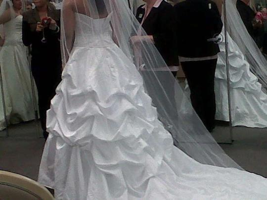 Satin Ball Gown Wedding Dress: Oleg Cassini Satin Ball Gown With Beaded Embroidery Style