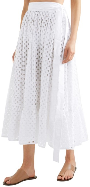 Item - White Pleated Broderie Anglais Cotton-gauze Runaway Skirt Size 12 (L, 32, 33)