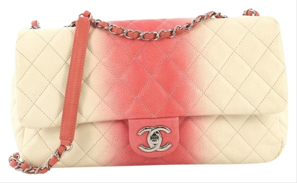 5289ca1401da Chanel Classic Flap Cc Chain Quilted Ombre Large Pink Caviar Shoulder Bag