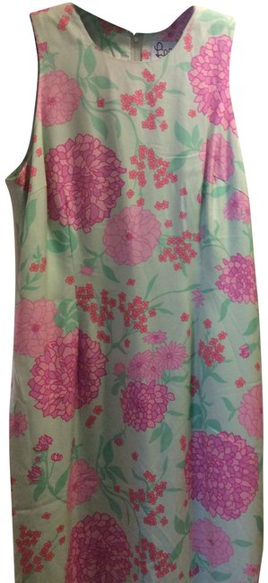 Item - Pale Green and Pink Gloria Long Cocktail Dress Size 14 (L)