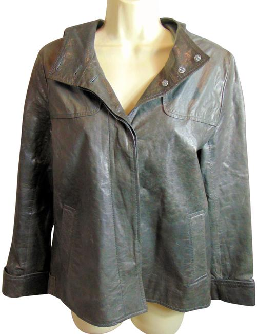 Item - Grey Hooded Hidden Button Front Taura Reed Jacket Size 8 (M)