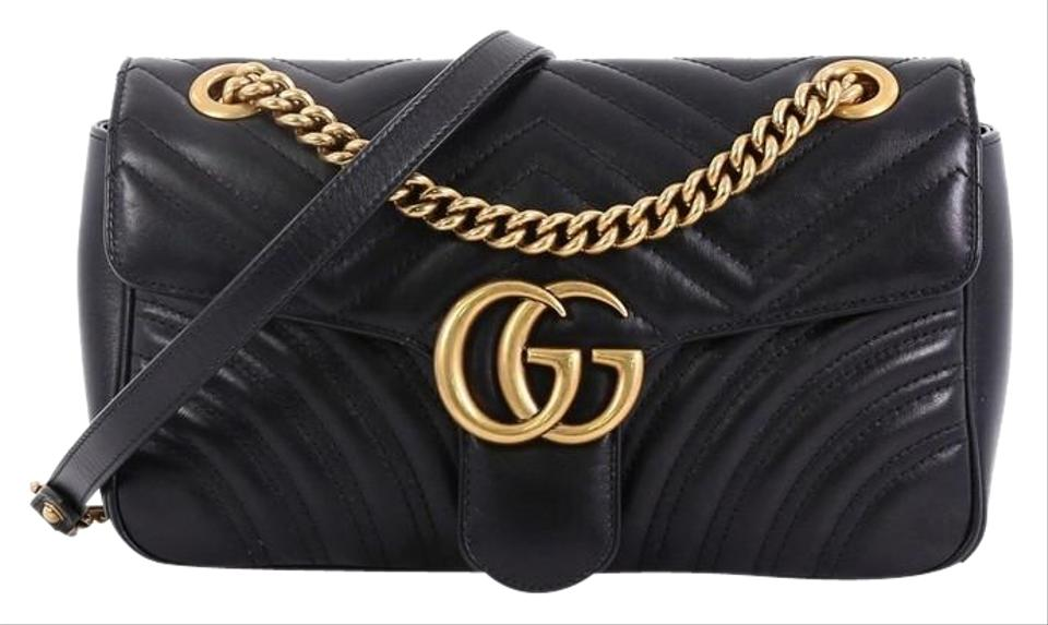 cc774788ae8 Gucci Marmont Gg Flap Matelasse Small Black Leather Shoulder Bag ...