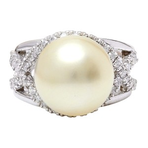 Fashion Strada 13.12 mm White South Sea Pearl 14K Solid White Gold Diamond Ring