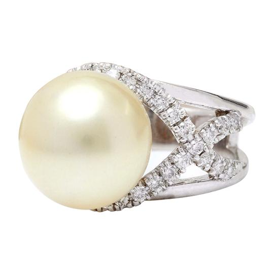 Fashion Strada 13.12 mm White South Sea Pearl 14K Solid White Gold Diamond Ring Image 2