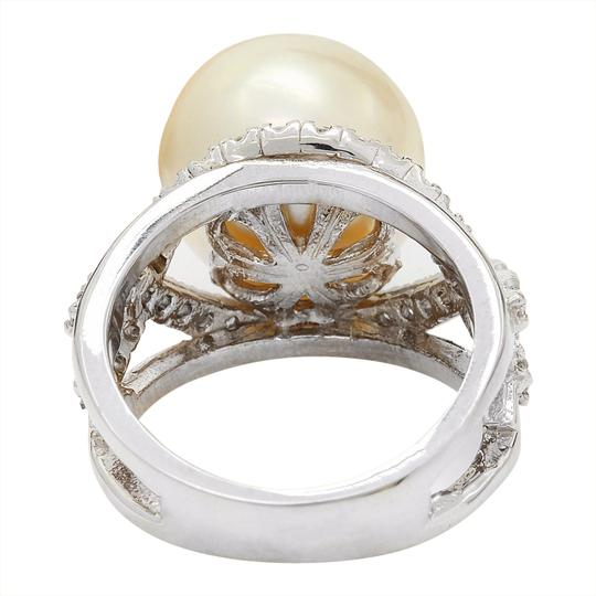 Fashion Strada 13.12 mm White South Sea Pearl 14K Solid White Gold Diamond Ring Image 3