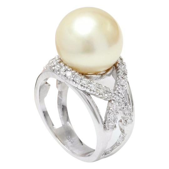 Fashion Strada 13.12 mm White South Sea Pearl 14K Solid White Gold Diamond Ring Image 4