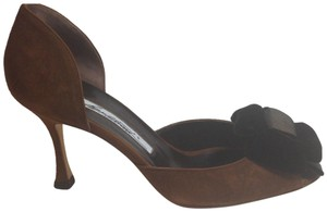 Brian Atwood Like New Suede Brown Pumps