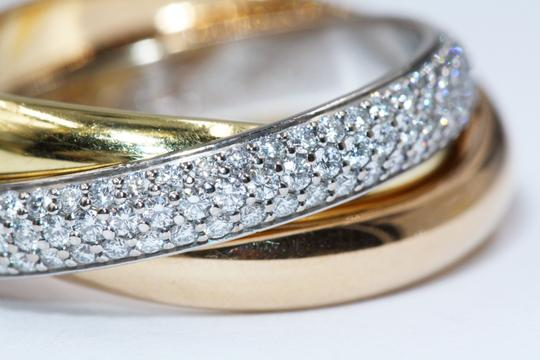Cartier TRINITY RING CLASSIC WHITE GOLD YELLOW GOLD PINK GOLD DIAMONDS Image 4