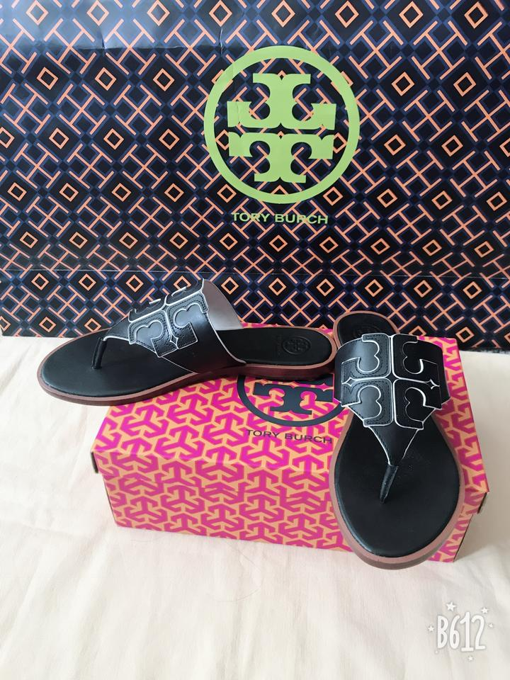 17ca4ee7f853 Tory Burch Black Jamie Full Logo Thong- Calf Leather Sandals Size US 8  Regular (M