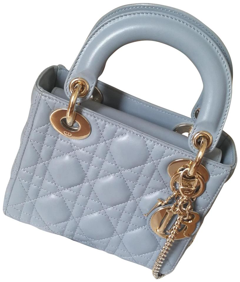 c0def70f30 Dior Lady Mini Light Fog Blue Lambskin Leather Cross Body Bag - Tradesy