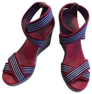 Tory Burch red blue and white Wedges